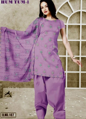 Medium Purple107 Karachi Cotton Un-stitched Dress Material At Zikimo