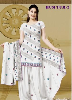 Ivory and Purple 502 Karachi Cotton Un-stitched Dress Material At Zikimo