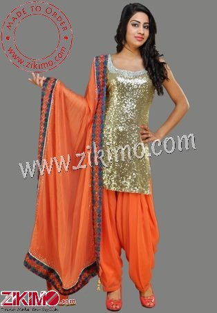 7e406af93d Zikimo Golden And Orange Cotton Satin Punjabi Salwar Kameez