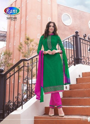 Green and Magenta1005 Daily Wear Un-stitched Cotton Straight Suit at Zikimo