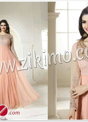 Zikimo Prachi Desai Peach Color Flared Anarkali Suit