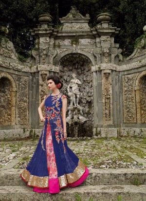 Vipul Blue Floral Printed lehenga With Net Long Choli at Zikimo