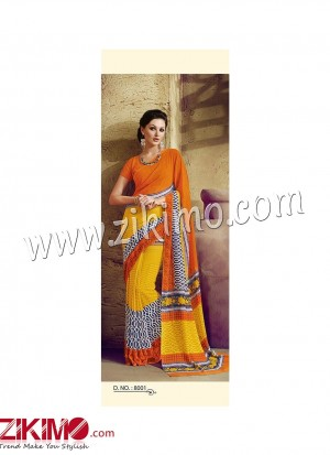 Zikimo Zara8001 Orange and Yellow  Daily Wear Designer Chiffon Saree