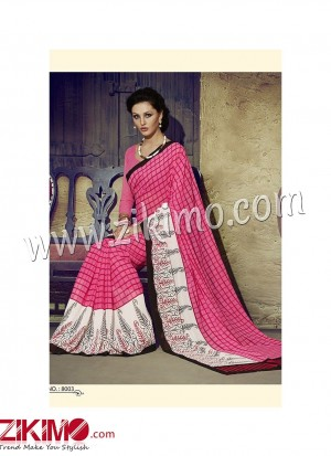 Zikimo Zara8003 BrightPink and Ivory Daily Wear Designer Chiffon Saree