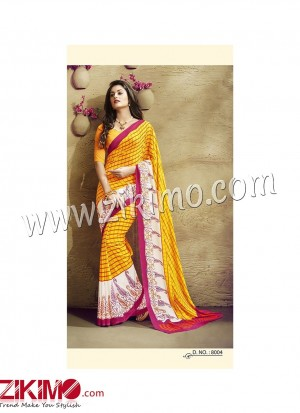 Zikimo Zara8004 Yellow and SnowWhite Daily Wear Designer Chiffon Saree