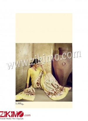 Zikimo Zara8005 LightYellow and Ivory Daily Wear Designer Chiffon Saree