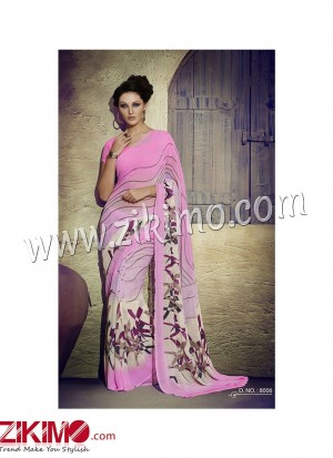 Zikimo Zara8006 RosePink and Ivory Daily Wear Designer Chiffon Saree