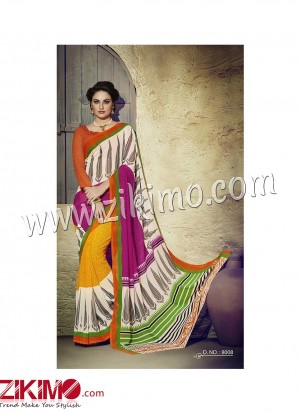 Zikimo Zara8007 Magenta and FireBrickRed Daily Wear Designer Chiffon Saree