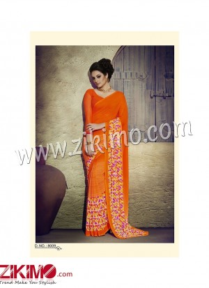Zikimo Zara8008 Orange and Multicolor Daily Wear Designer Chiffon Saree