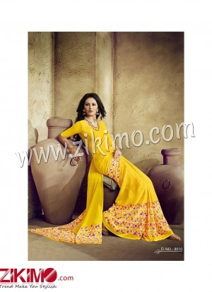 Zikimo Zara8009 FantaOrange and Multicolor Daily Wear Designer Chiffon Saree