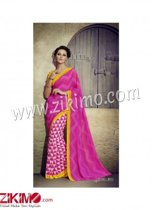 Zikimo Zara8010 Yellow and Multicolor Daily Wear Designer Chiffon Saree