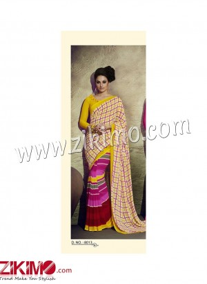Zikimo Zara8012FantaOrange and Red Daily Wear Designer Chiffon Saree
