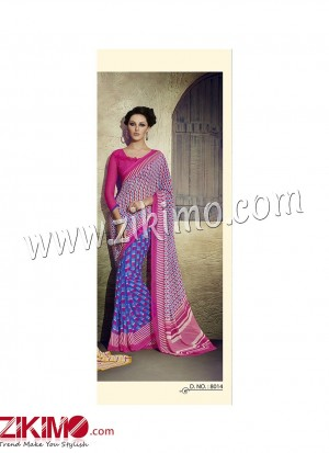 Zikimo Zara8013 Yellow and Multicolor Daily Wear Designer Chiffon Saree