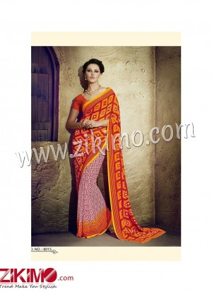Zikimo Zara8014 Magenta and Multicolor Daily Wear Designer Chiffon Saree