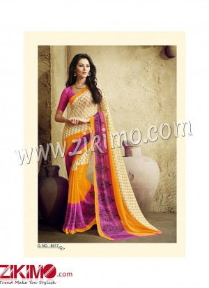 Zikimo Zara8016 SeaGreen and NavyBlue Daily Wear Designer Chiffon Saree