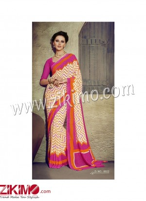 Zikimo Zara8021 Red and Ivory Daily Wear Designer Chiffon Saree