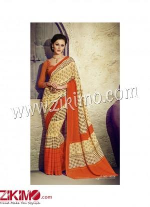Zikimo Zara8023 Red and Magenta Daily Wear Designer Chiffon Saree
