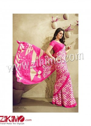 Zikimo Zara8026 FireBrickRed and Beige Daily Wear Designer Chiffon Saree