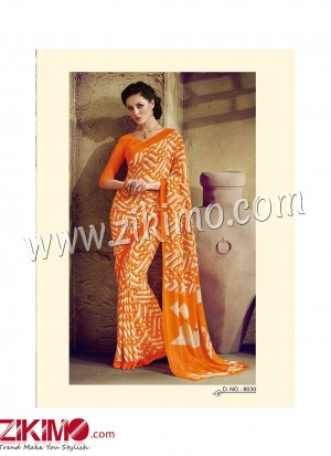 Zikimo Zara8027 Orange and Ivory Daily Wear Designer Chiffon Saree