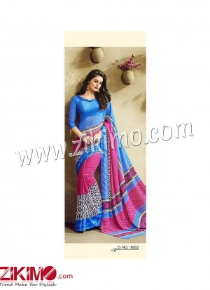 Zikimo Zara8029 Magenta and SnowWhite Daily Wear Designer Chiffon Saree