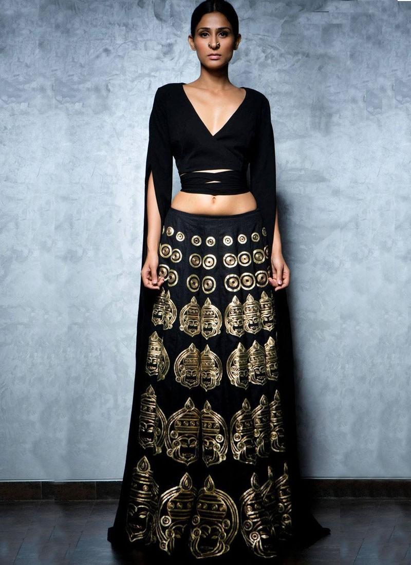 4073d536df Designer Black Lyra and Raw Silk Lehenga Choli with Gota & Zari Work at  Zikimo