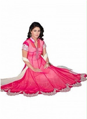 HEENA KHAN GEORGETTE EMBROIDERED PINK LEHENGA CHOLI AT ZIKIMO