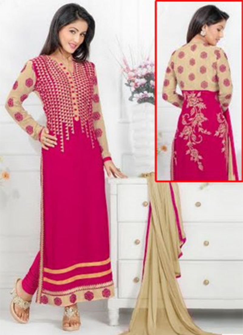 HEENA KHAN PINK GEORGETTE EMBROIDERY STRAIGHT SUIT AT ZIKIMO