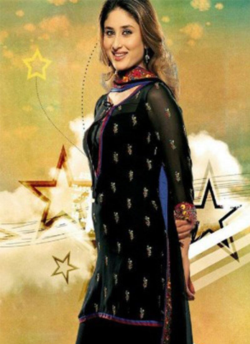 Kareena Kapoor Black Georgette Designer Salwar Kameez At
