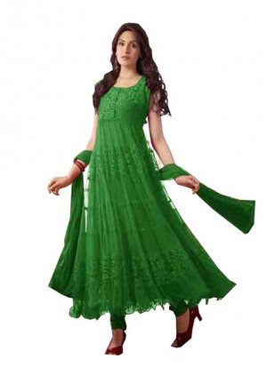 Georgette and brasso 1077 Self Design Semi-stitched Green Salwar Suit at ZIKimo