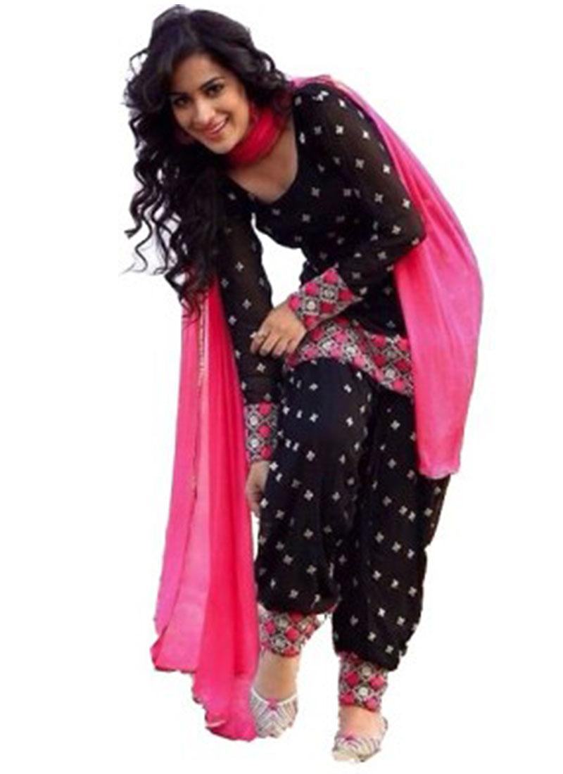aa59efee8d Black Cotton Punjabi Salwar Kameez With Pink Dupatta at Zikimo ...