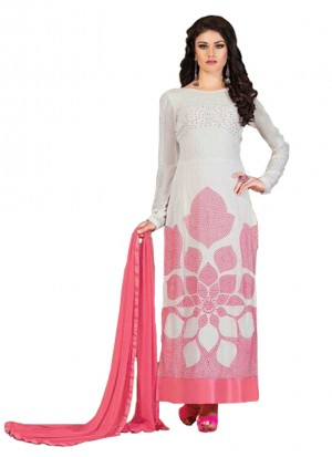 Heenayat White Pink Party Wear Straight Suit at Zikimo