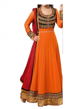 Heena Khan Fanta Color Party Wear Anarkali Suit at Zikimo