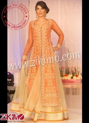 94cf8bfa38 Zikimo Beige Brown And Orange Indian Western Bridal Lehenga With Stunning  Look