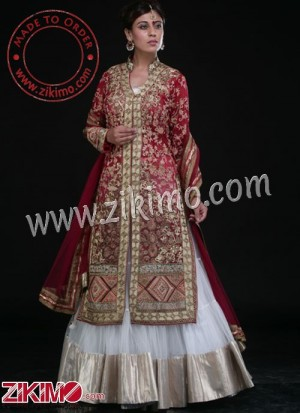 72de46d544 Zikimo Red & White Attractive Indian Bridal Lehenga With Embroidery Work
