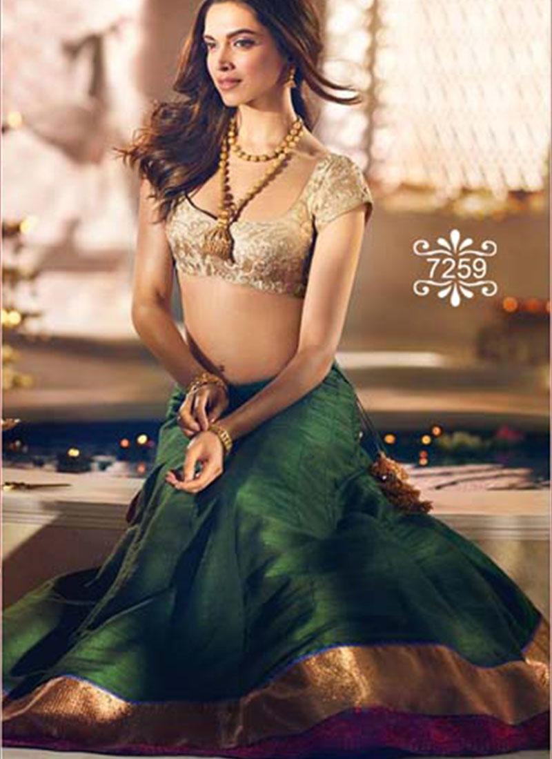 Deepiak Padukone Green Banglore Silk With Brocade Lehenga