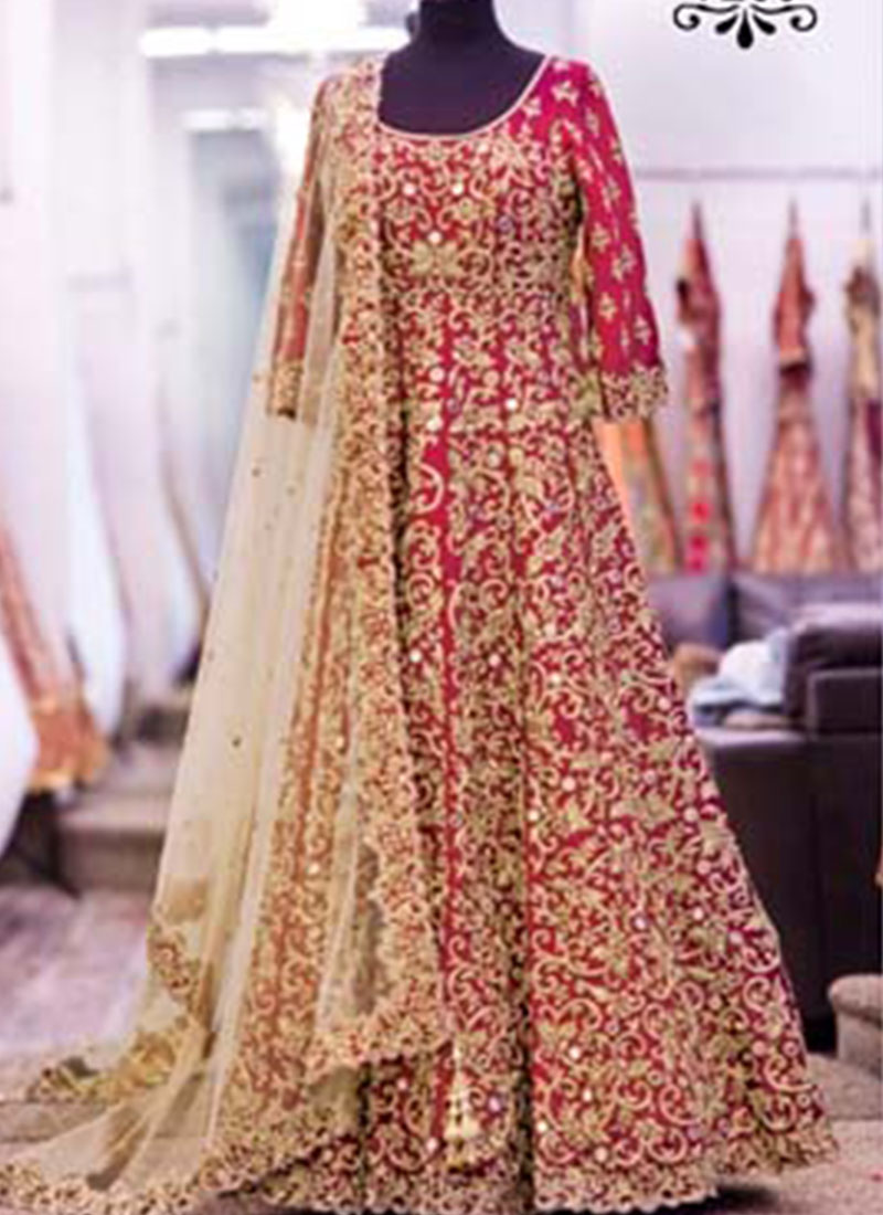 16c3062edfe Red Wedding Wear Heavy Banglore Silk zari