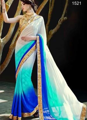 Chanrming Look Aqua Blue 1521 Silk Jaquard Party Wear Saree at Zikimo
