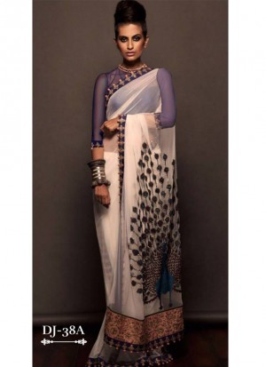 Cream 1536 Georgette Peacock Embroidered Party Wear Saree at Zikimo
