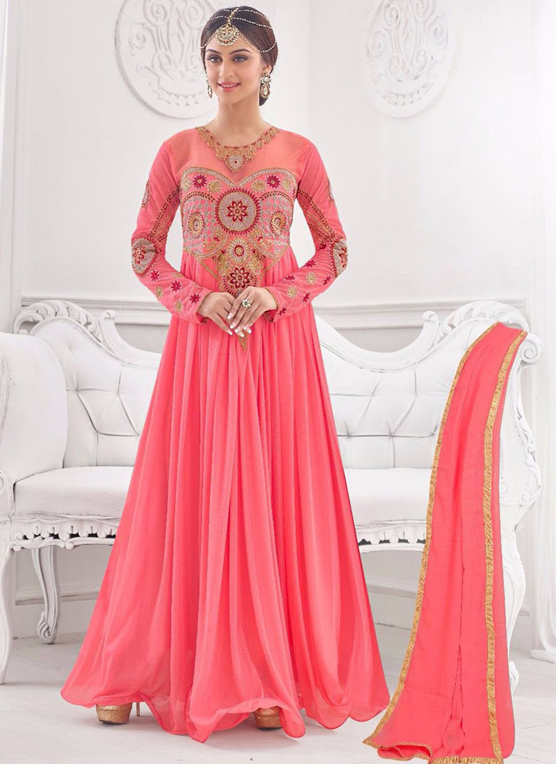Lavishing Rose Pink 01 Korean Lycra Wedding Wear Designer Gown At Zikimo