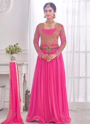 Pretty Magenta 03 Korean Lycra Wedding Wear Designer Gown At Zikimo