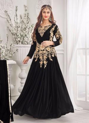Luxurious Black 07 Korean Lycra Wedding Wear Designer Gown At Zikimo