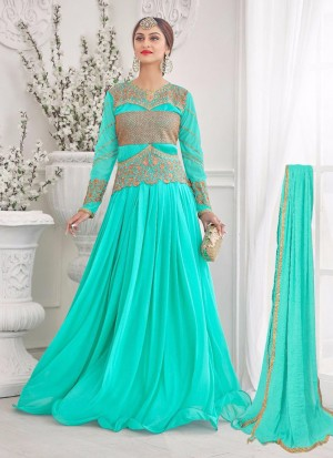 Beautiful Aqua Green 08 Korean Lycra Wedding Wear Designer Gown At Zikimo