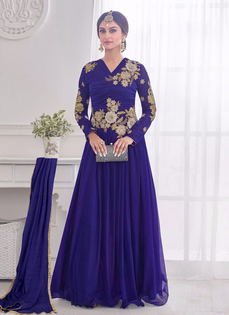 Awesome Violate Blue 11 Korean Lykraw Wedding Wear Designer Gown At ...