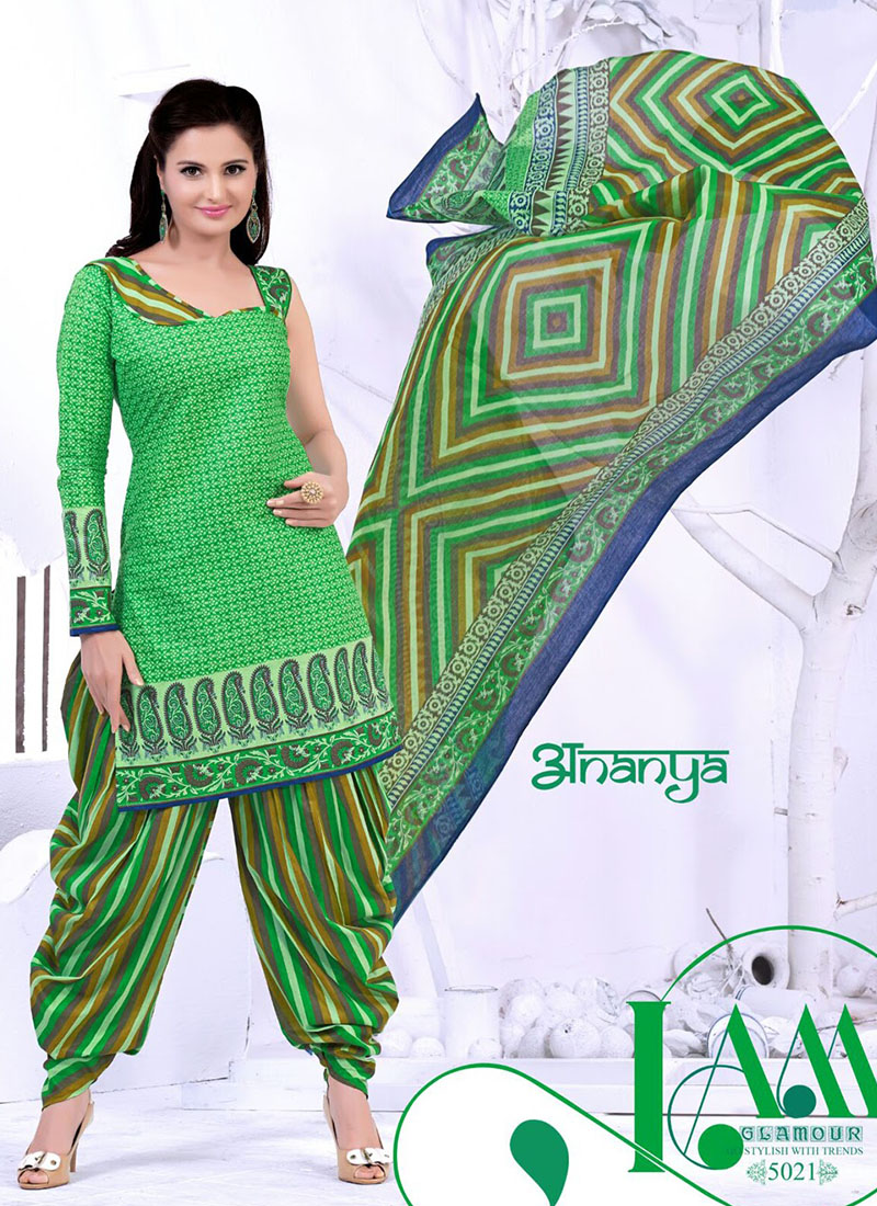 49406cb9ae Smash Light Green and Multicolor Printed Cotton 5021 Daily Wear Salwar  Kameez At Zikimo