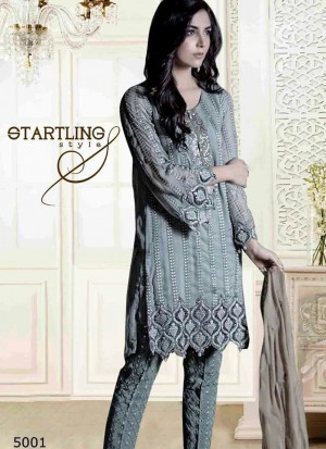 Awesome Cadet Gray 5001 Party Wear Pakistani Style Foux Georgette Pants/Plazo Suit At Zikimo