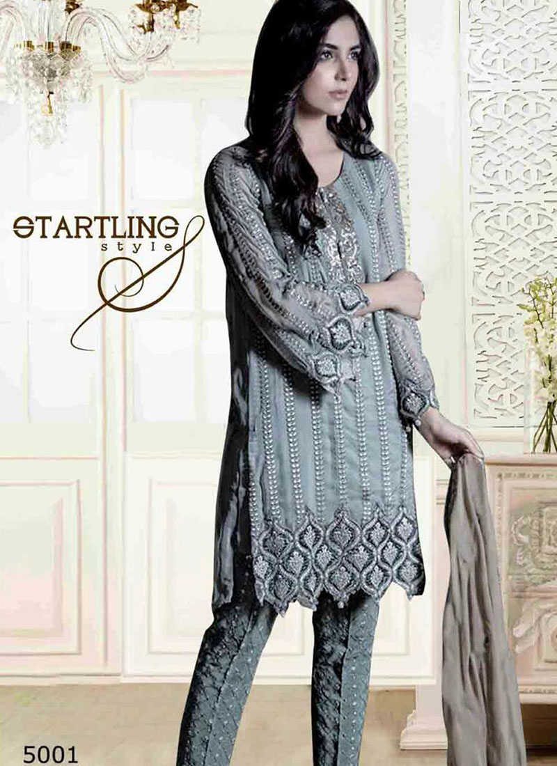 Awesome Cadet Gray 5001 Party Wear Pakistani Style Foux Georgette ...