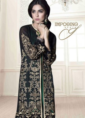 Best Ever Bistre Brown 5003 Party Wear Pakistani Style Foux Georgette Pants/Plazo Suit At Zikimo