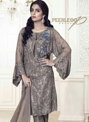 Stunning Brown 5005 Party Wear Pakistani Style Foux Georgette Pants/Plazo Suit At Zikimo