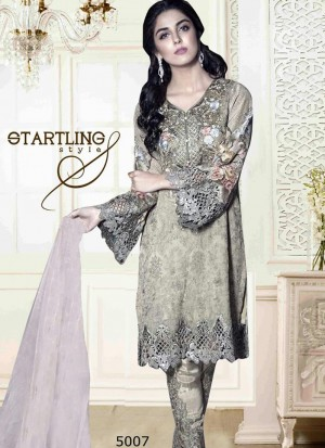 Beautiful DarkIvory 5006 Party Wear Pakistani Style Foux Georgette Pants/Plazo Suit At Zikimo