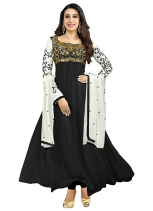 Karishma Kapoor Black Designer Georgette Anarkali Suit at Zikimo